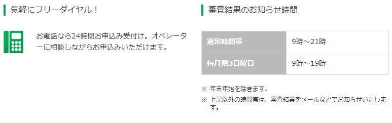 レイクALSA 電話 審査結果